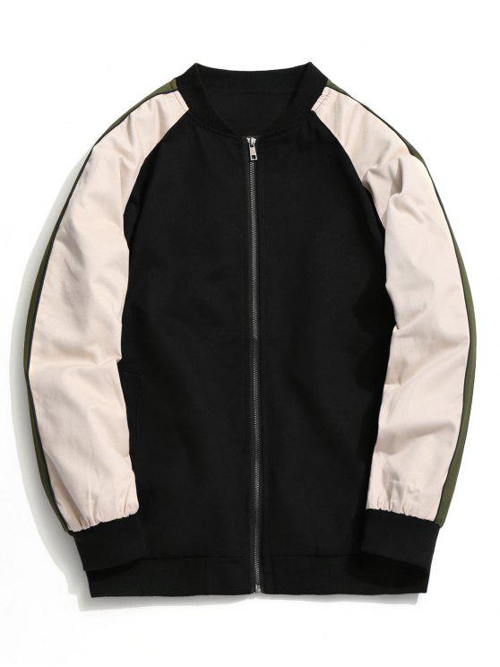 latest Color Block Zipper Baseball Jacket - BLACK L