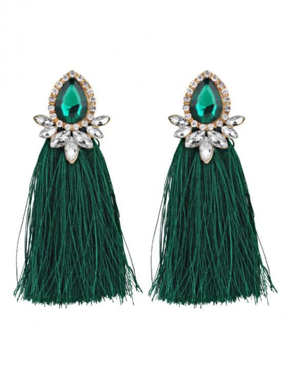 Rhinestoned Faux Gem Teardrop Tassel Earrings - Verde