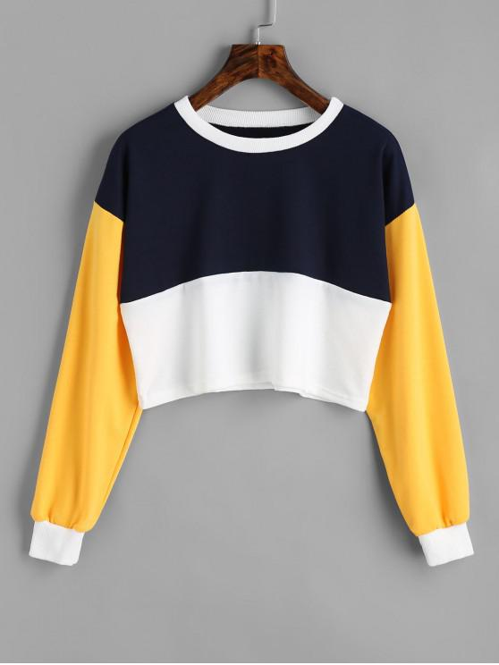 affordable Contrast Crop Sweatshirt - PURPLISHBLUE + WHITE L