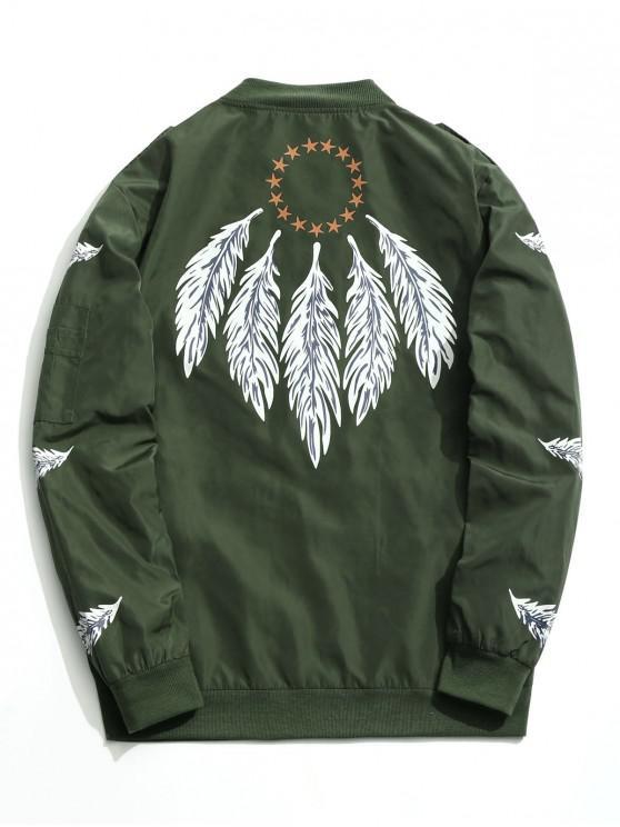 women Zipper Feather Print Jacket - GREEN 3XL