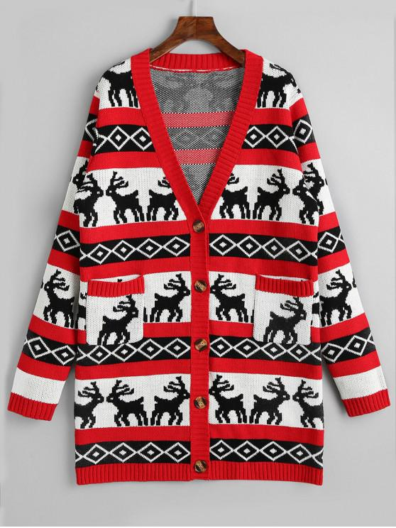 women Button Up Elk Geometric Christmas Cardigan - RED M