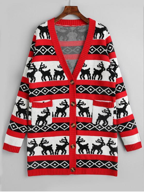 women's Button Up Elk Geometric Christmas Cardigan - RED L