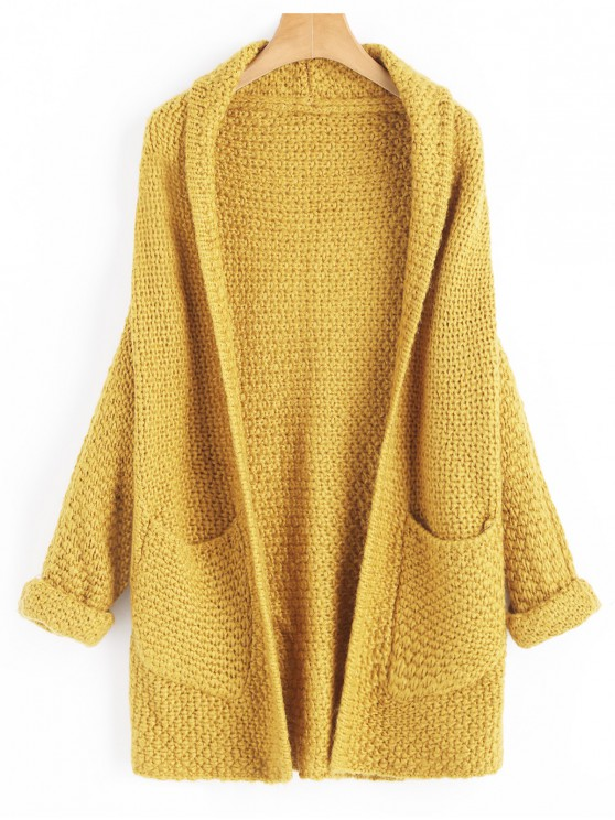 unique Curled Sleeve Batwing Open Front Cardigan - MUSTARD ONE SIZE