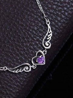 Faux Amethyst Heart Angel Wings Necklace - Purple
