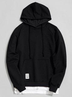Panel Hem Kangaroo Pocket Hoodie Men Clothes - Black Xl