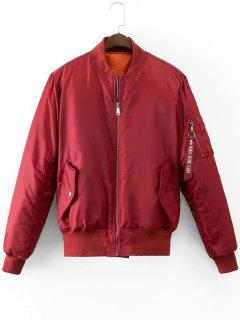 Graphic Back Zip Up Puffer Jacket - Deep Red L