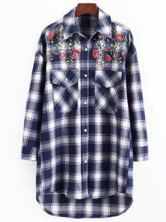 Sequined Floral Patched Checked Shirt - Checked L