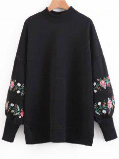 Floral Embroidered Lantern Sleeve Sweatshirt - Black M