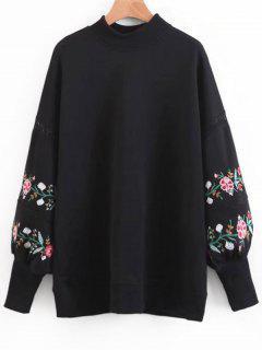 Sweat-shirt à Broderie Florale à Manches Lanternes - Noir L