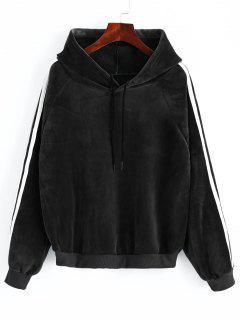 Striped Sleeve Velvet Hoodie - Black