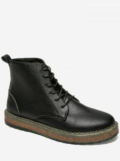 PU Leather Lace Up Short Boots - Black 40