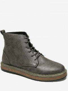 PU Leather Lace Up Short Boots - Deep Gray 40