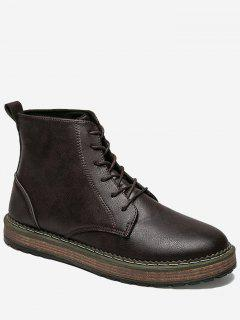 PU Leather Lace Up Short Boots - Deep Brown 44