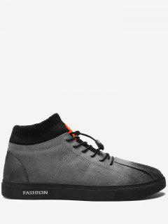 High-top Sweater Cuff Casual Shoes With Cord-lock - Gray 41