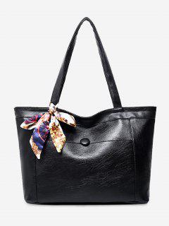 Faux Leather Scarf Shoulder Bag - Black