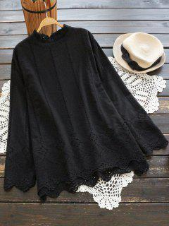 Ruffle Neck Hollow Out Scalloped Blouse - Black