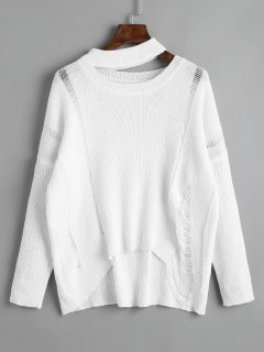 Cutout Destroyed High Low Sweater - White