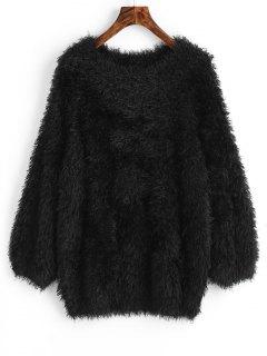 Pullover Raglan Sleeve Textured Sweater - Black