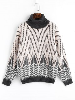 Textured Zig Zag Turtleneck Sweater - Apricot