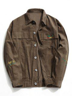 Button Up Corduroy Jacket - Coffee 3xl