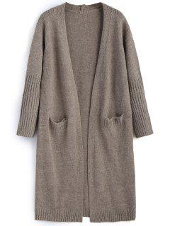 Open Front Cardigan With Pockets - Light Coffee