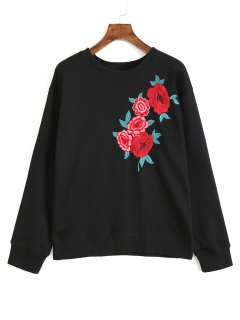 Long Sleeve Floral Embroidered Sweatshirt - Black L