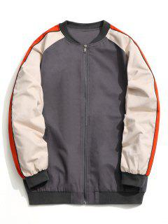 Color Block Zipper Baseball Jacket - Gray L