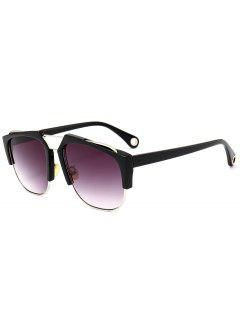 Crossbar Embellished Half Frame Oversized Sunglasses - Black Frame+grey Lens