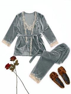 Laced Velvet Sleepwear Set - Frost Xl