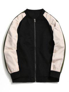 Color Block Zipper Baseball Jacket - Black 3xl