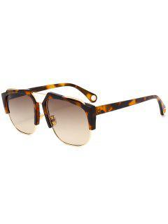 Crossbar Embellished Half Frame Oversized Sunglasses - Leopard+brown