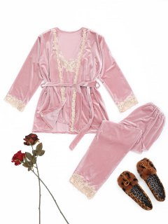 Laced Velvet Sleepwear Set - Pink L