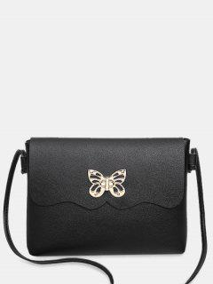 Metal Embellished Butterfly Crossbody Bag - Black