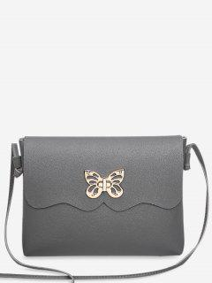 Metal Embellished Butterfly Crossbody Bag - Gray