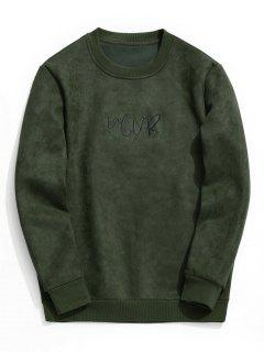 Suede Embroidered Crew Neck Sweatshirt - Army Green 3xl