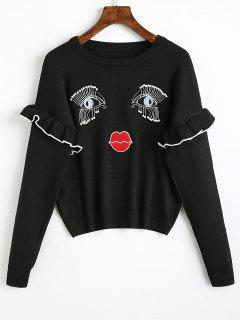 Pullover Face Embroidered Pearly Sweater - Black