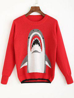 Crew Neck Shark Graphic Sweater - Red