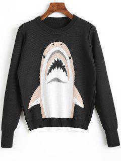 Crew Neck Shark Graphic Sweater - Black