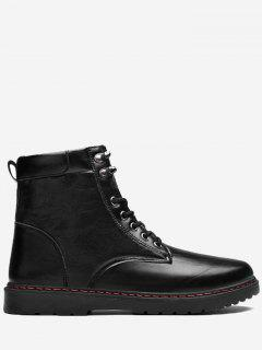 Side Zip Lace Up Front Chukka Boots - Black 41