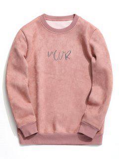 Sweat-shirt Ras Du Cou Brodé En Daim - Rose PÂle Xl