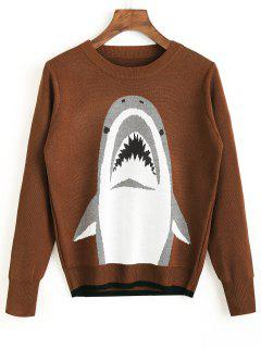 Crew Neck Shark Graphic Sweater - Light Coffee