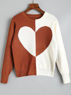 Pullover Two Tone Heart Sweater - Light Brown