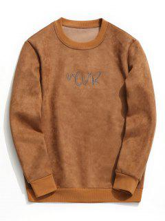 Suede Embroidered Crew Neck Sweatshirt - Brown Xl