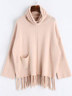 Fringed Oversized Turtleneck Sweater - Apricot