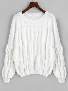 Pullover Lantern Ärmel Übergroße Pullover - Weiß
