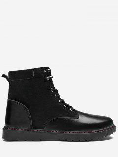 Panel Tie Up Ankle Boots - Leather Black 44