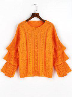 Layered Sleeve Pullover Cable Knit Sweater - Orange Red