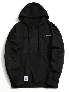 Corduroy Panel Men Hoodie - Black Xl