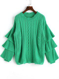 Layered Sleeve Pullover Cable Knit Sweater - Green