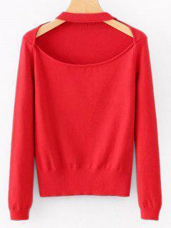 Cortar El Suéter Liso - Rojo